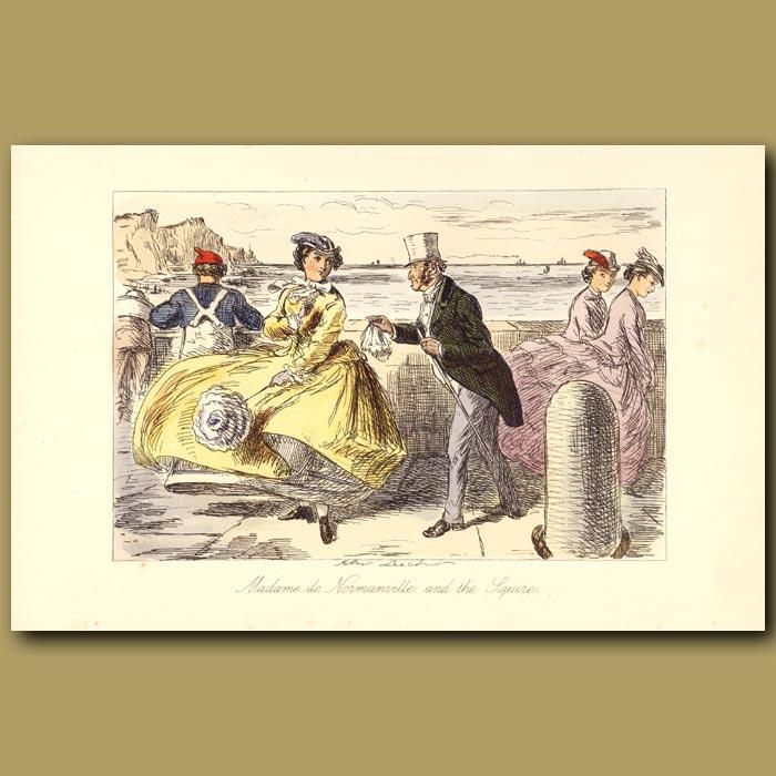 Antique print. Madame de Normanville and the Squire