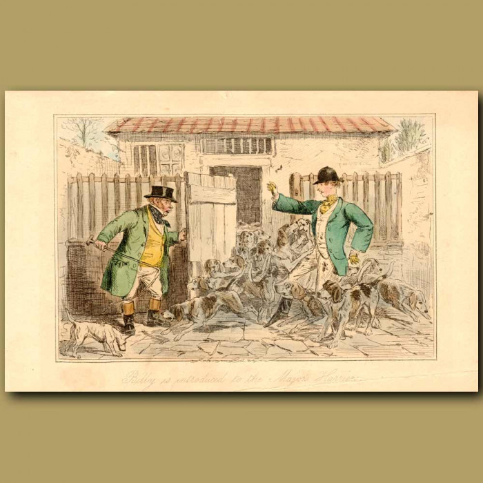 Antique print. Billy Is Introduced To The Major's Harriers