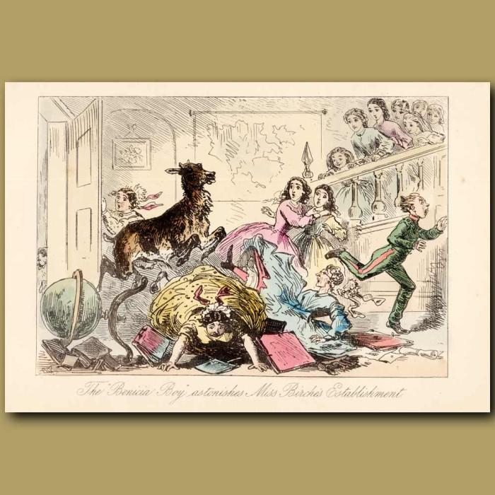 Antique print. The Benicia Boy Astonishes Miss Birche's Establishment