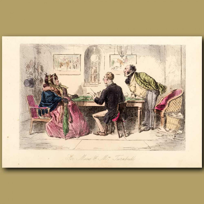 Antique print. Sir Moses And Mrs Turnbull