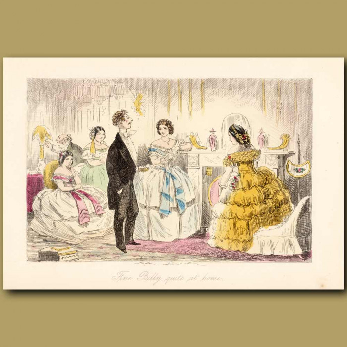 Antique print. Fine Billy Quite At Home