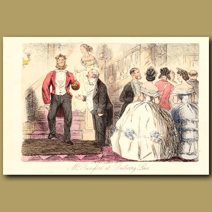 Antique print. Mr. Romford at Dalberry Lees