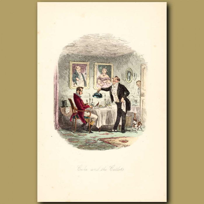 Antique print. Cake And The Cutlets