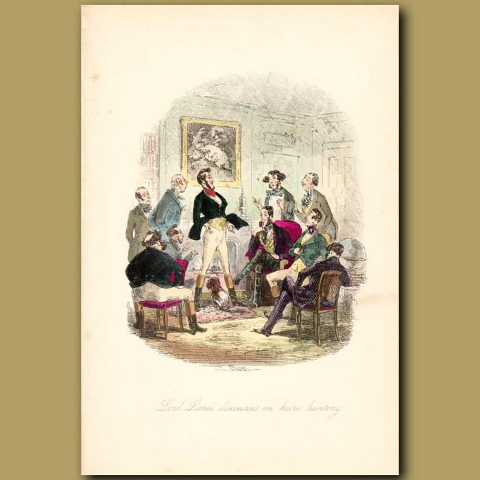 Antique print. Lord Lionel Discourses On Hare Hunting
