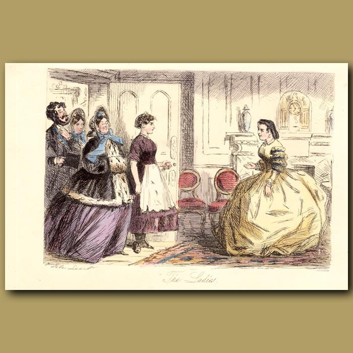 Antique print. The Ladies