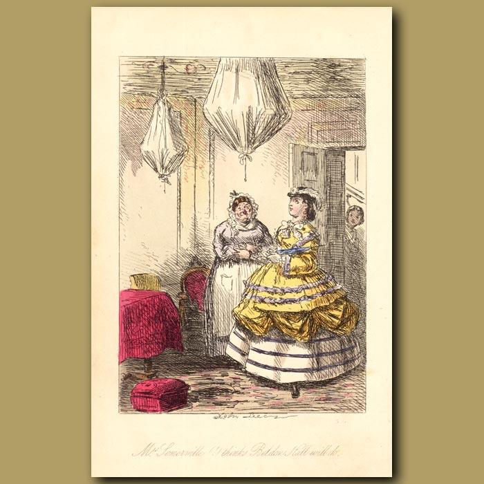 Antique print. Mrs Somerville,'I thinks Beldon Hall will do'