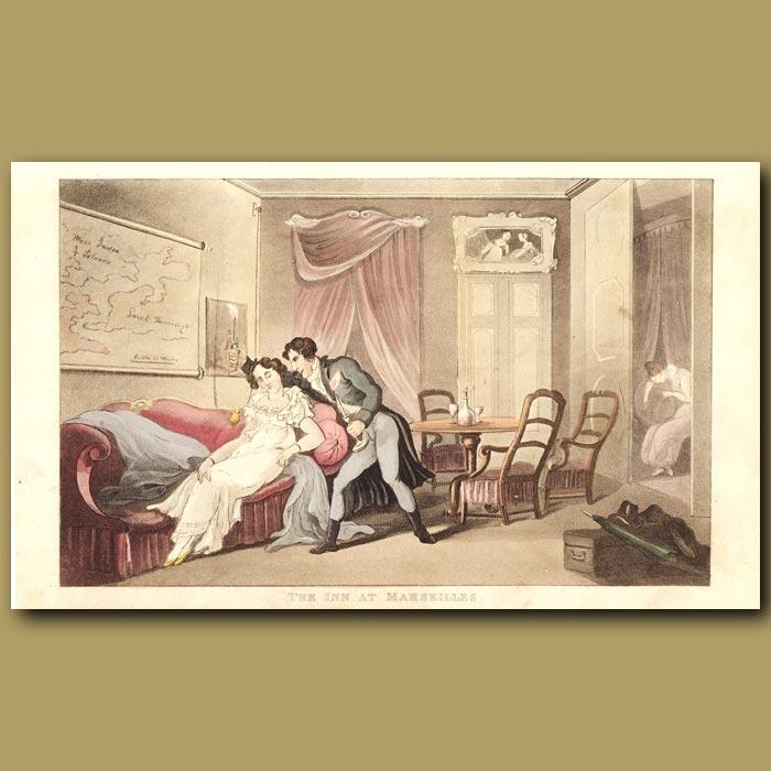 Antique print. The Inn at Marseilles