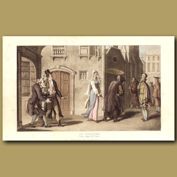 Antique print. At Avignon - First Sight of Clara