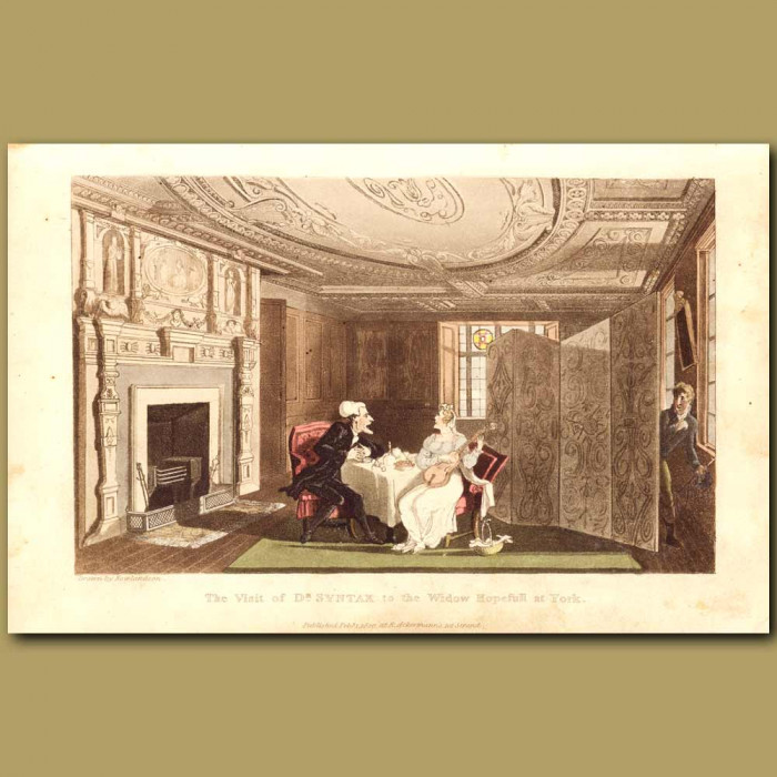 Antique print. The Visit Of Dr Syntax To The Widow Hopefull At York