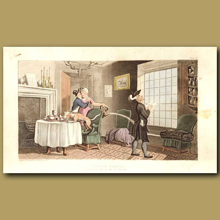 Antique print. Dr Syntax copying the wit of the window