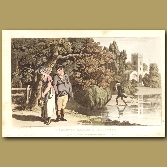 Antique print. Dr Syntax making a discovery