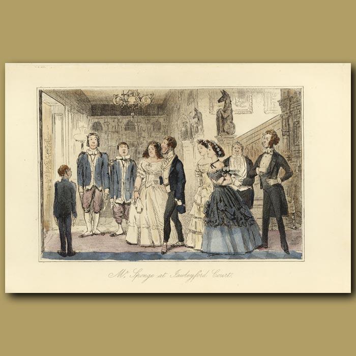 Antique print. Mr Sponge at Jawleyford Court