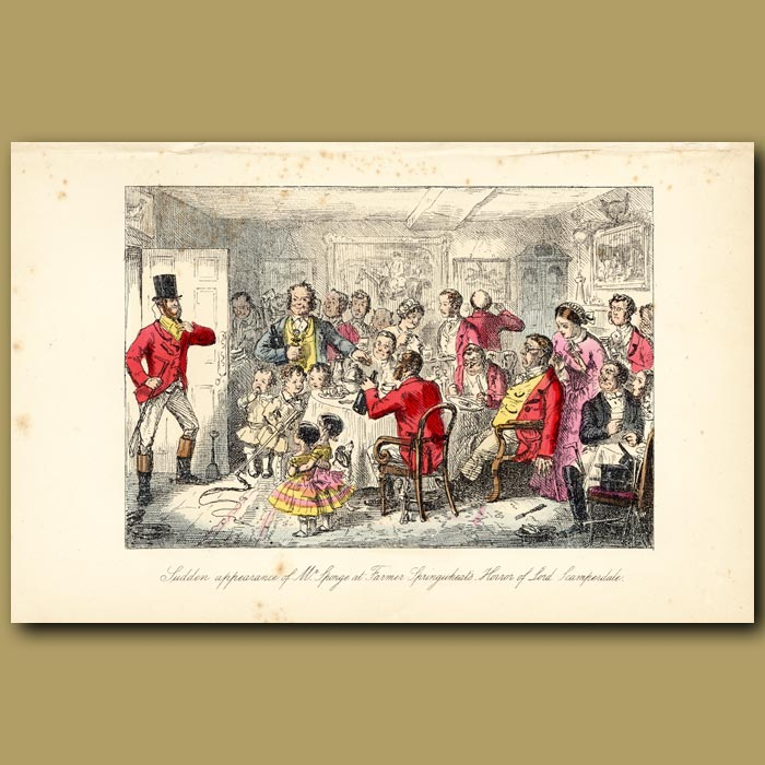 Antique print. Sudden appearance of Mr Sponge at Farmer Springwheat's Horror of Lord Scamperdale