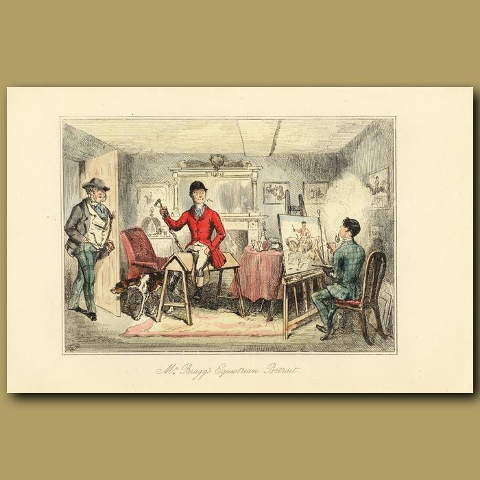 Antique print. Mr Bragg's equestrian portrait