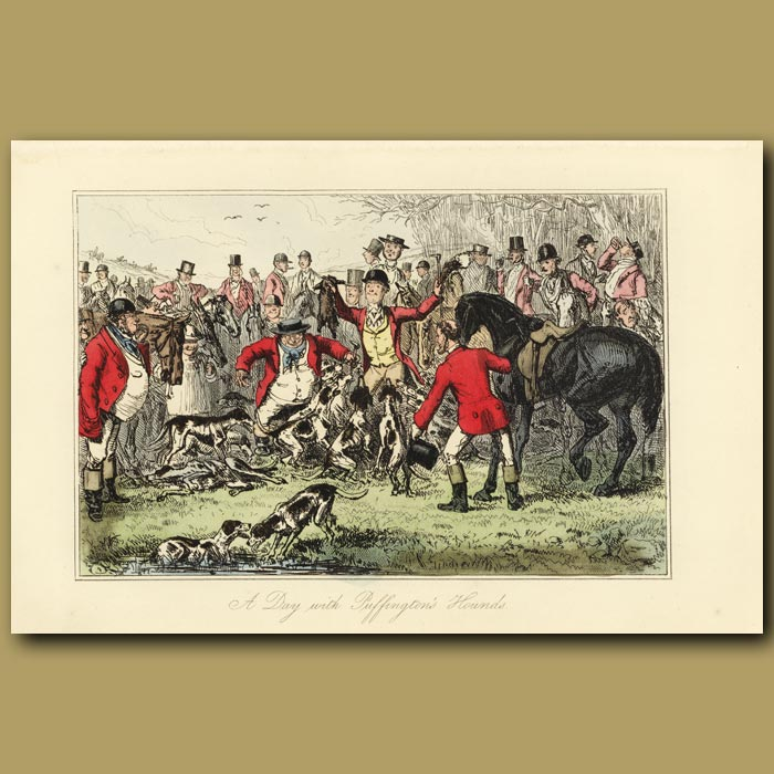 Antique print. A day with Puffington's Hounds