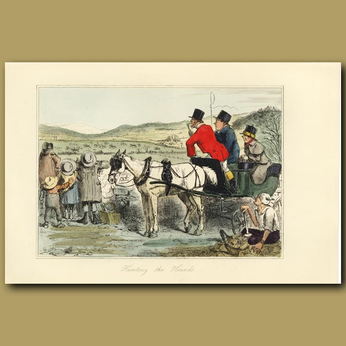 Antique print. Hunting the Hounds