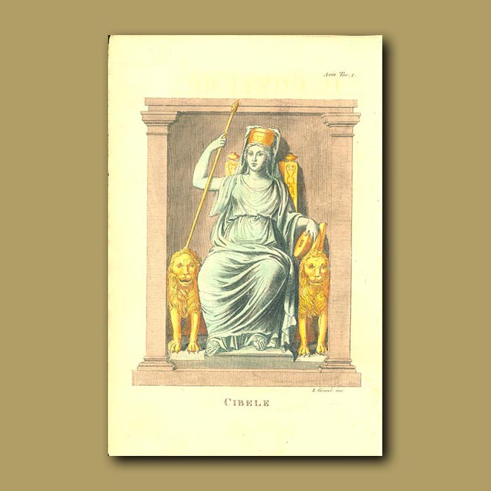 Antique print. Greek goddess of Nature usually depicted seated between 2 lions or leopards)