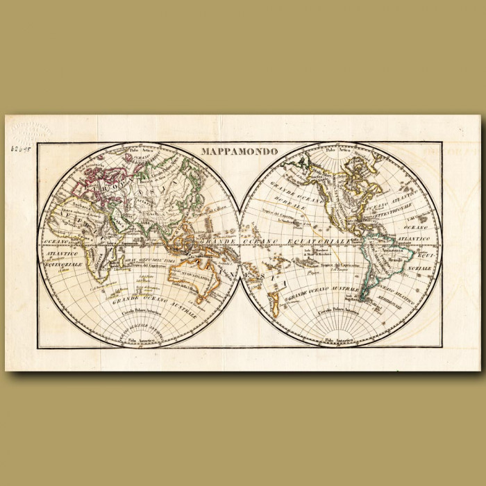 Antique print. Map of the World (folding)