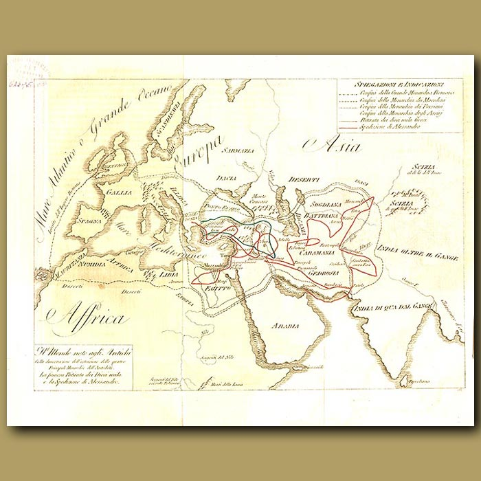 Antique print. Map of ancient world, showing route of Alexander the Great