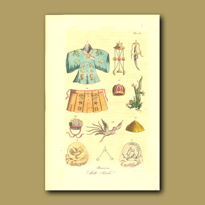 Antique print. Dresses and Ornaments of China