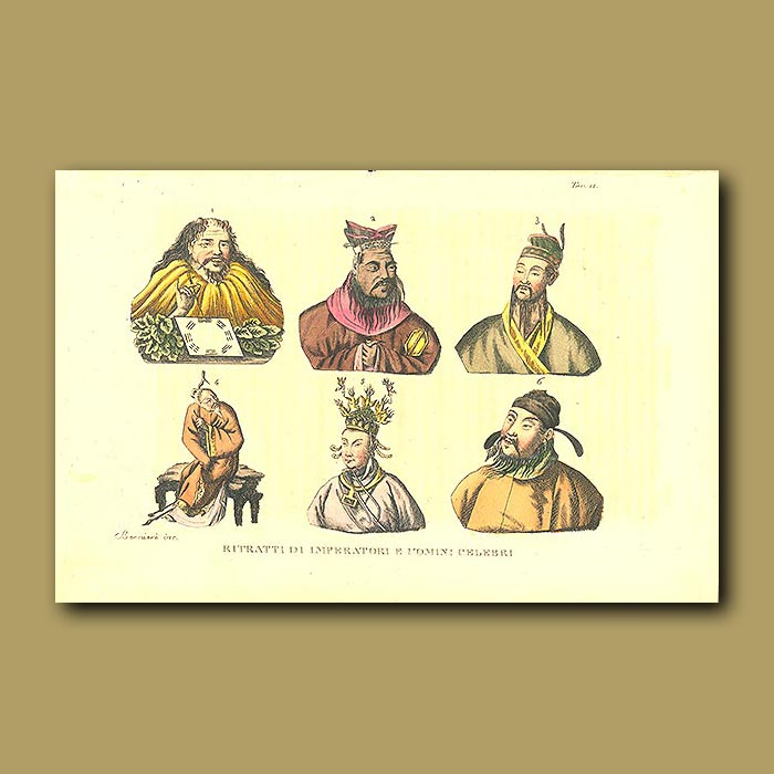 Antique print. Chinese Emperors