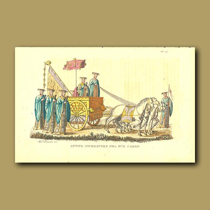 Antique print. Chinese Emperor in his wagon