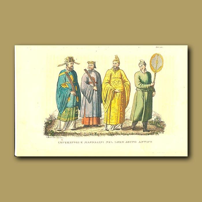 Antique print. Mandarin Emperors in their ancient dress