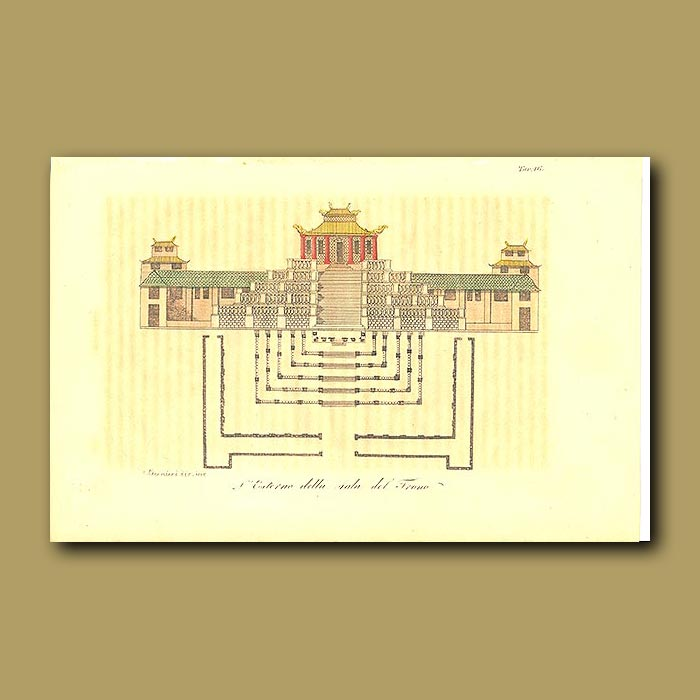 Antique print. Building containing the Throne of the Emperors
