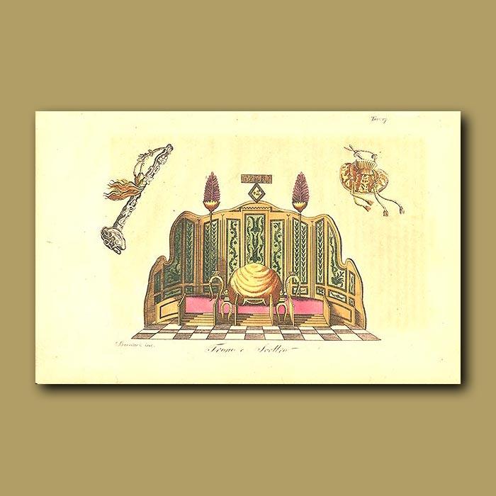 Antique print. Throne and Sceptre