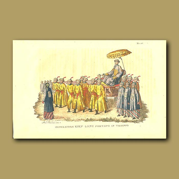 Antique print. Emperor Kien Long carried in triumph