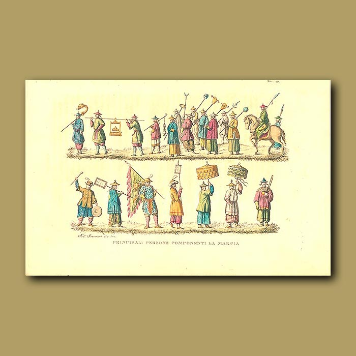 Antique print. Principal people on a march