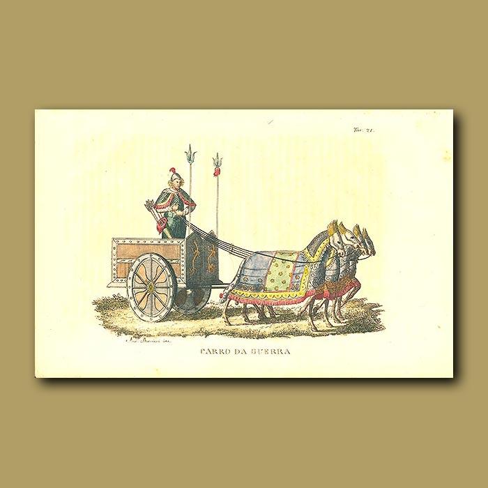 Antique print. War wagon
