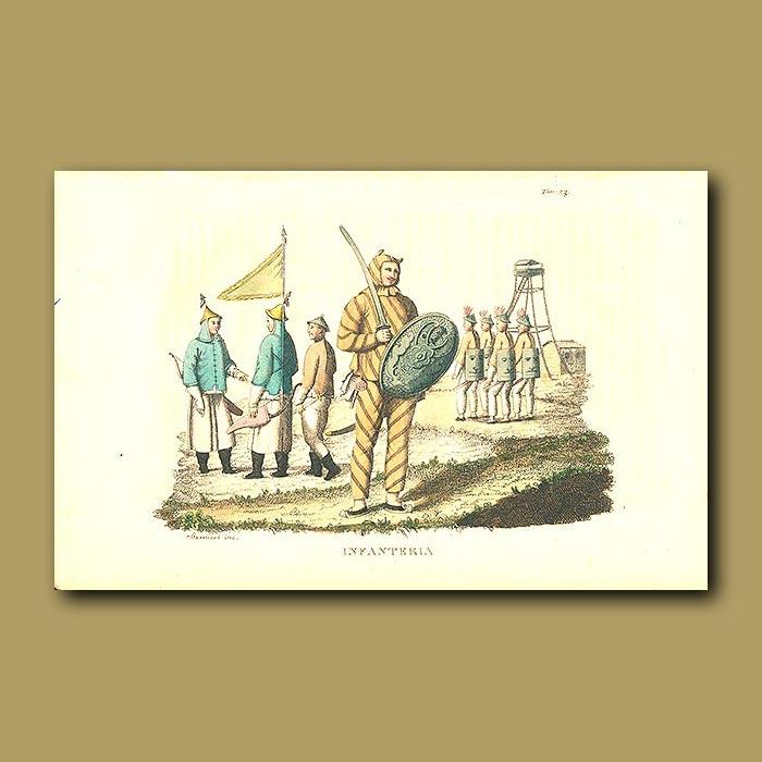 Antique print. Infantry
