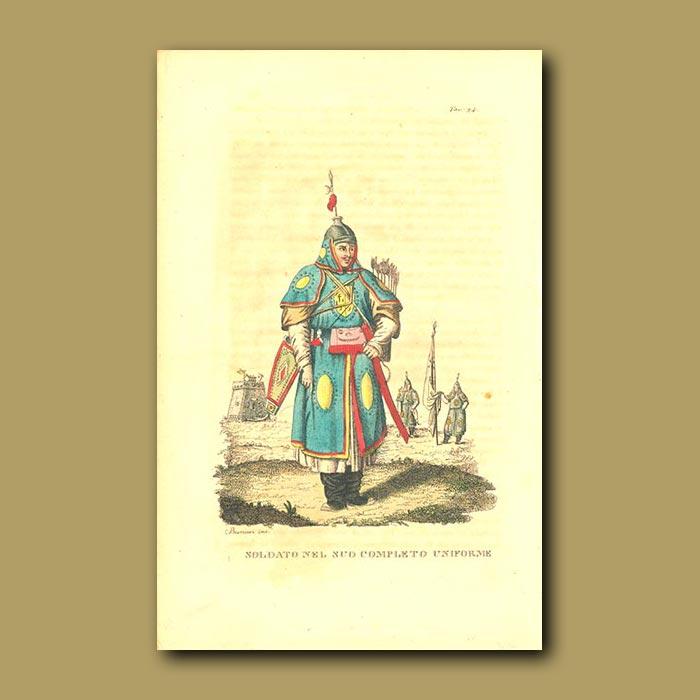 Antique print. Complete soldiers uniform