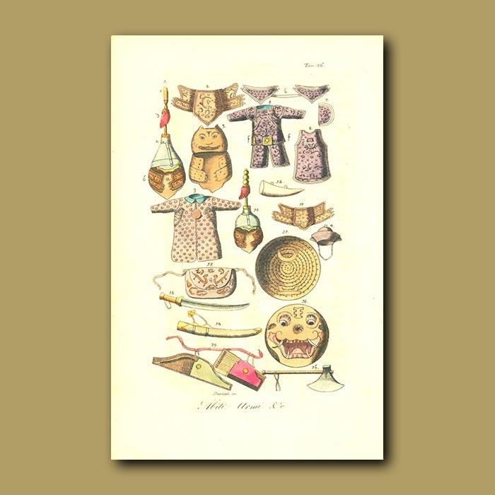 Antique print. Army uniforms