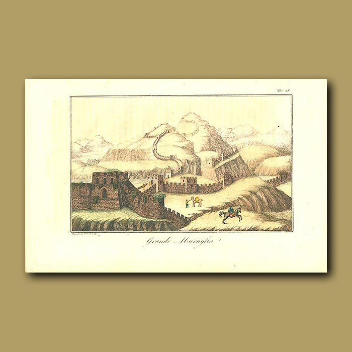 Antique print. Great Wall of China