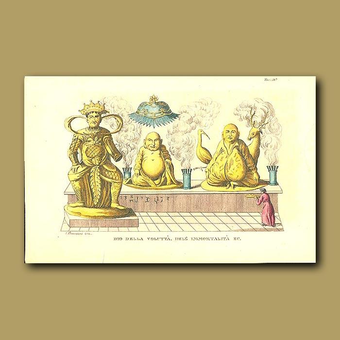Antique print. Buddha