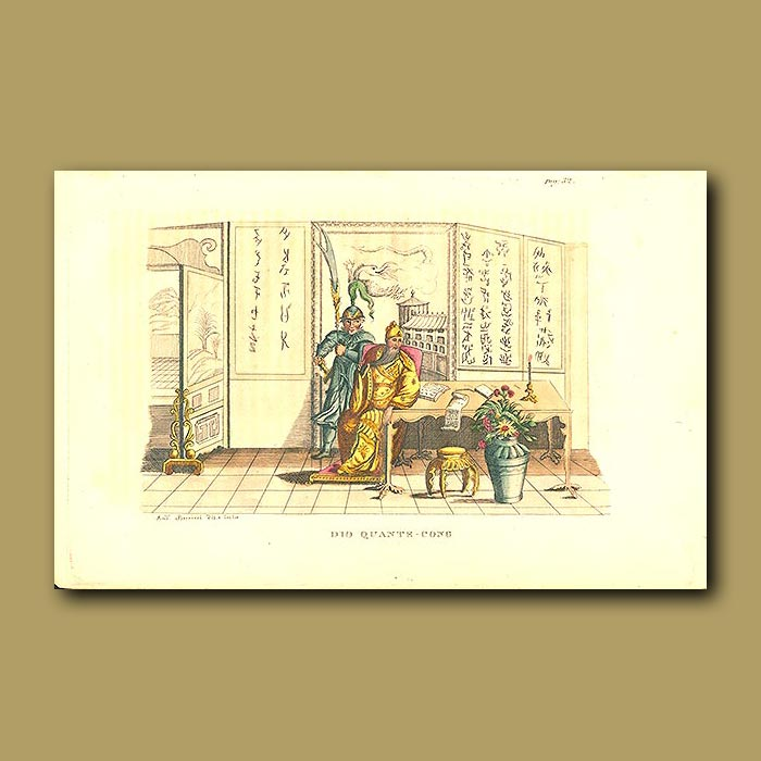 Antique print. Quantecong - Founder of the Chinese Empire