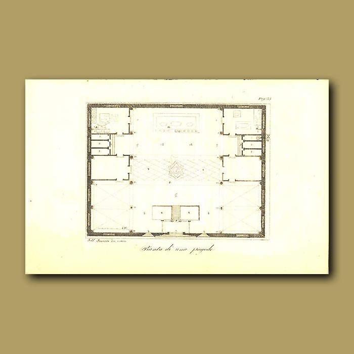 Antique print. Plan of a Pagoda