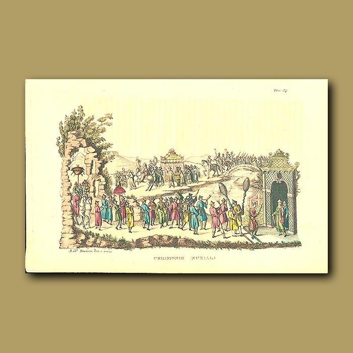 Antique print. Wedding ceremony in China