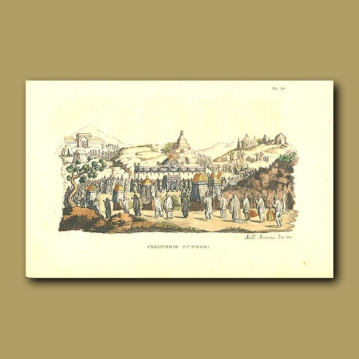 Antique print. Funeral ceremony in China