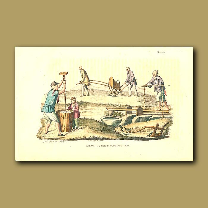 Antique print. Plowing the fields