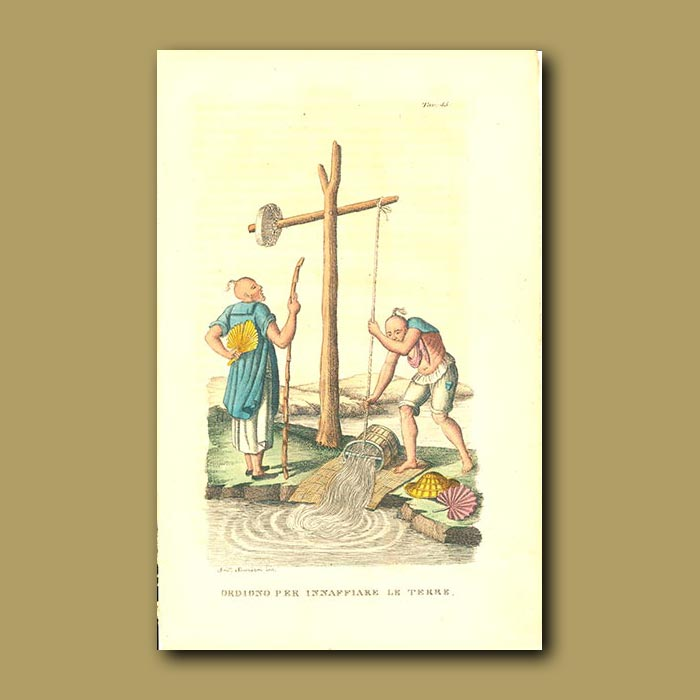 Antique print. Pumping water