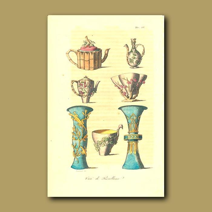 Antique print. Porcelain vases