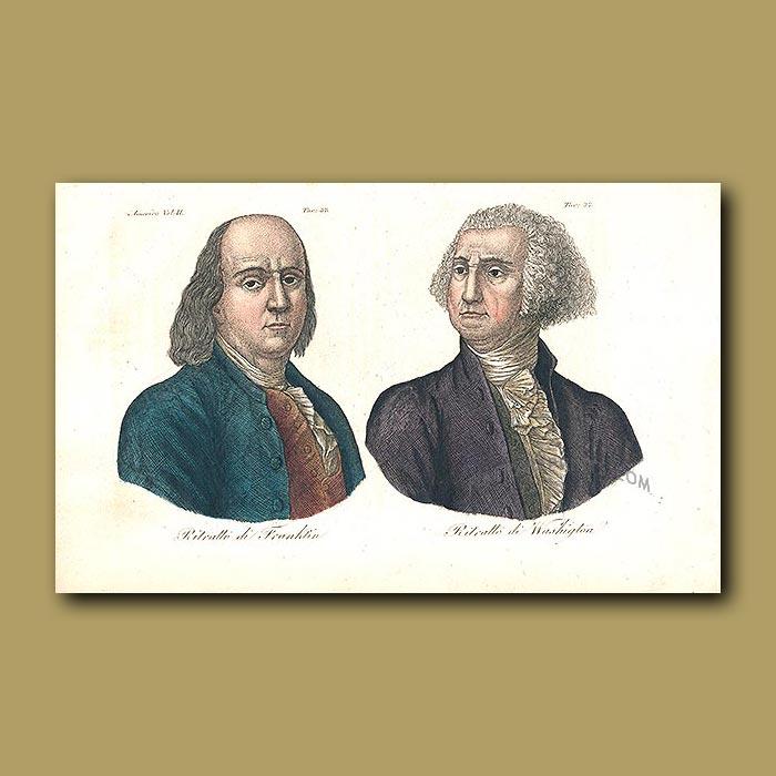 Antique print. Benjamin Franklin and George Washington