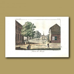 Market square in America in the 1820s, with a sign for wine,tea, brandy and coffee