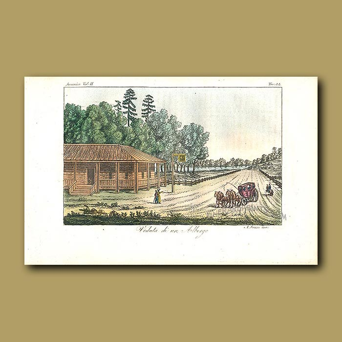 Antique print. View of an American hotel in the 1820s