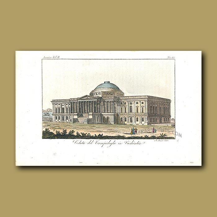 Antique print. Supreme Court, Capitol Hill