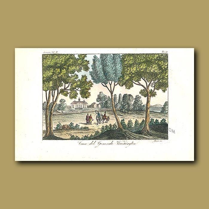 Antique print. General Washington's house - Mount Vernon