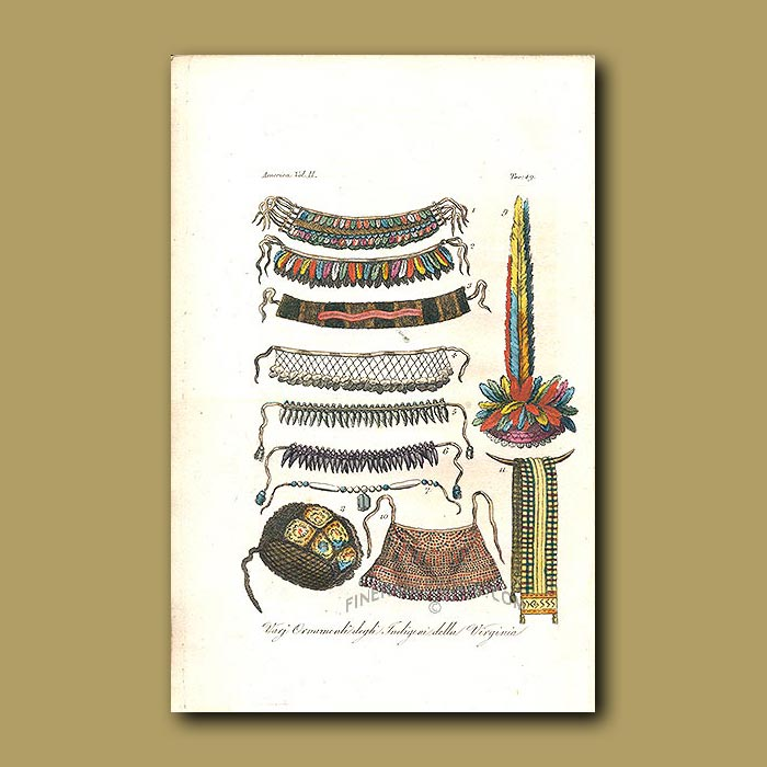 Antique print. Necklaces and headgear used in dance rituals of the Manahoac Indians of Virginia
